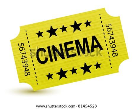 Yellow cinema ticket illustration design over white
