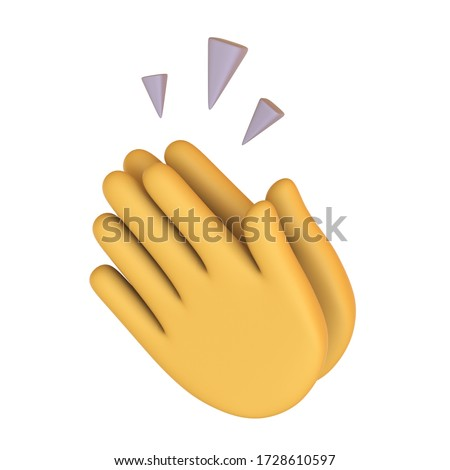 Yellow Clapping hands icon. Emoji button. Applause gesture. emoticon sign. Congratulation. winner. success. thankful. gratitude. Isolated 3d render illustration