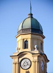 Yellow Clock Tower with Relief in Rijeka, Croatia