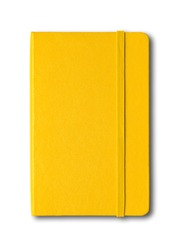 Yellow closed notebook mockup isolated on white