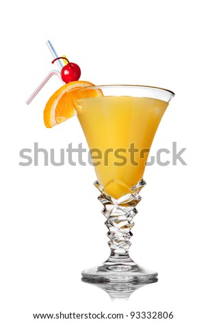 yellow cocktail isolated on white