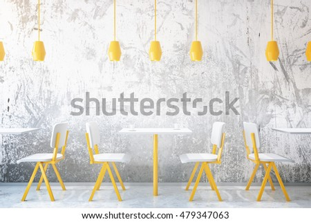Yellow coffee tables and chairs in concrete cafe interior with ceiling lamps. 3D Rendering #479347063