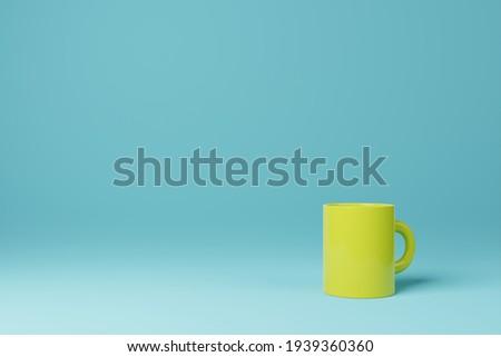 Yellow coffee tea mug cup on cyan background 3D rendering Stock photo ©