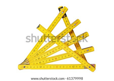 Yellow collapsible ruler of the carpenter #61379998