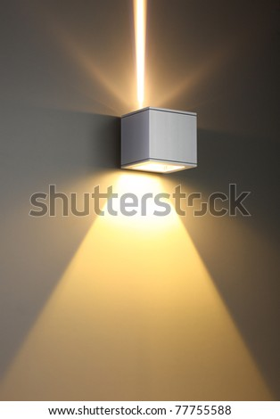 Yellow color background with lighting bulb and blank space for text or object