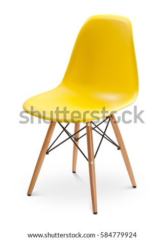 Yellow color chair, modern designer. Chair isolated on white background. Series of furniture #584779924