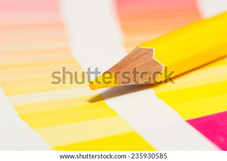 yellow colored pencils and color chart of all colors #235930585