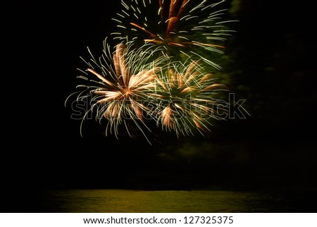 Yellow colorful holiday fireworks on the black sky background.