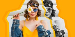yellow colorful stylized collage of pretty woman in summer style wearing sunglasses, sunny day, stylish apparel fashion trend, blue jeans jacket, yellow dress, elegant hipster earrings