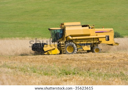 Yellow Combine Working In The Field Stock Photo 35623615 ...