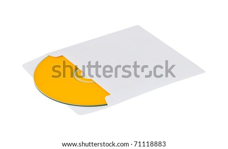 yellow compact disk into envelope isolated on white background