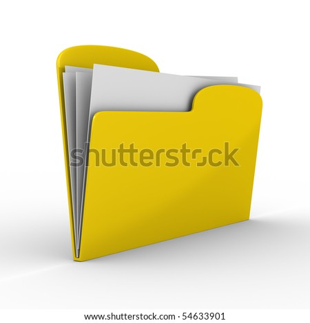 Yellow computer folder on white background. Isolated 3d image