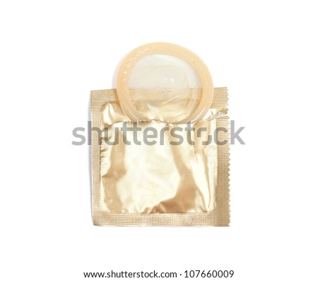 Yellow condom with open pack, isolated on white background