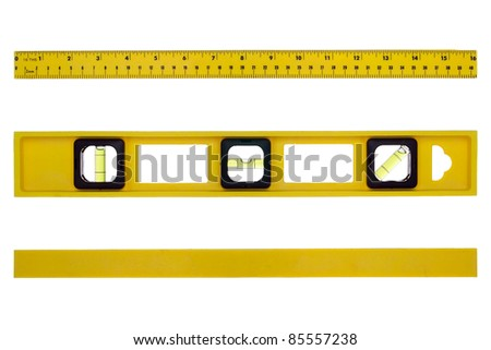 Yellow construction bubble spirit level tool featuring inch and metric ruler with different views from above and underneath isolated on white