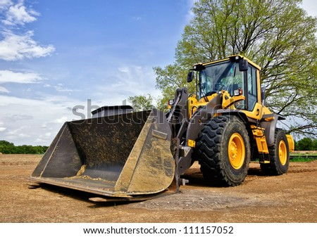Yellow construction bulldozer