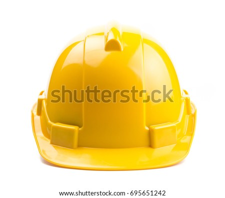 Yellow construction helmet isolated on white background #695651242