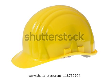 Yellow construction safety hard hat isolated on white background