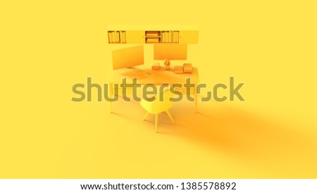Yellow Contemporary Home Office Setup with Bookshelf Poster an Cactus 3d illustration 3d rendering