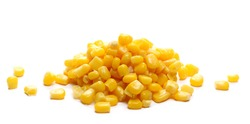 Yellow cooked corn isolated on white background