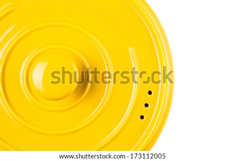 Yellow cooking pot over white background - Shutterstock ID 173112005