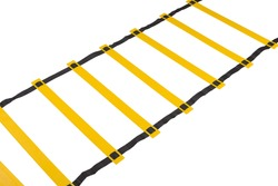 yellow coordination ladder, on a white background, photograph of a part of the ladder, close-up, isolate