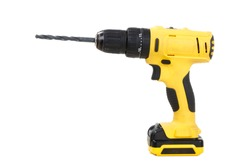 Yellow Cordless drill isolated on white background