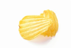Yellow corrugated salted two potato chips on a white background, close up