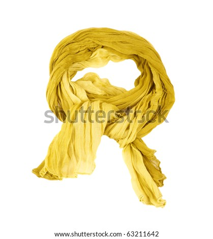 yellow cotton scarf isolated on a background