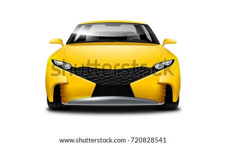 Yellow Coupe Sporty Car. Generic automobile with glossy surface on white background. Front view with isolated path. 3d illustration.