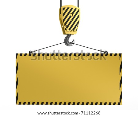 Yellow crane hook lifting blank yellow block for design purposes, isolated on white background - stock photo