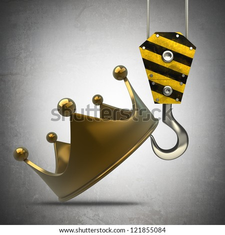 Yellow crane hook lifting golden crown High resolution 3d illustration