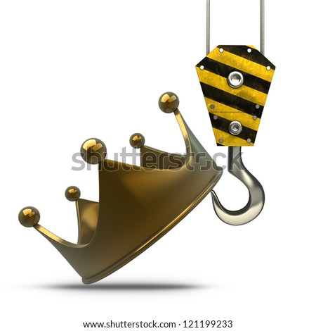 Yellow crane hook lifting golden crown isolated on white background High resolution 3d illustration