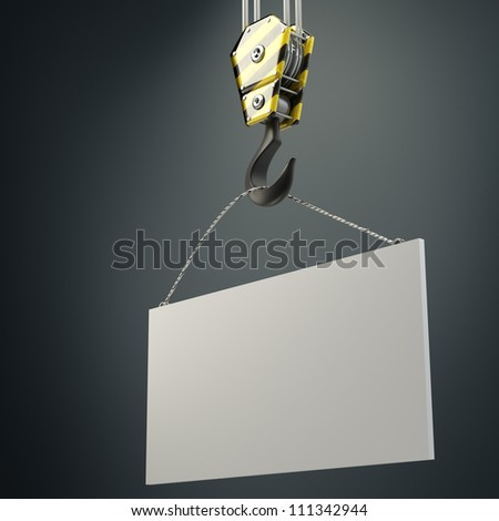 Yellow crane hook lifting white blank plane  3d illustration, High resolution