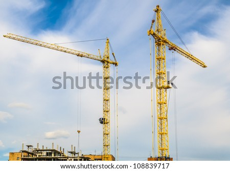 yellow crane in the sky