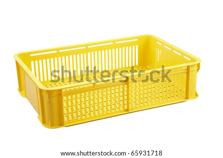 Yellow crate isolated on white background.