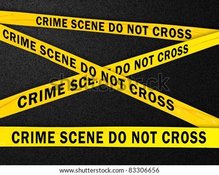 Yellow crime scene barrier tape