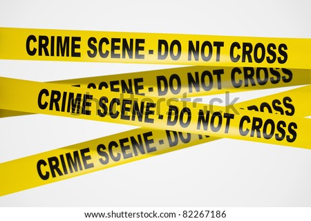 Yellow crime scene tape on white background
