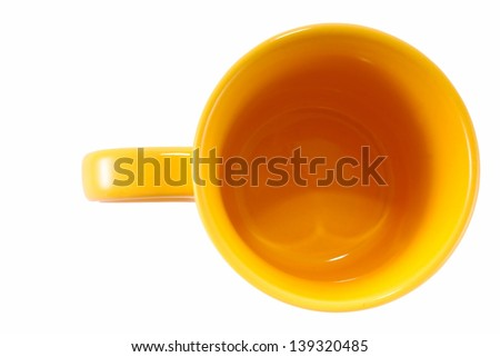 Yellow cup isolated on the white background