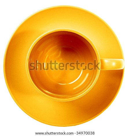 Yellow cup isolated on white background.