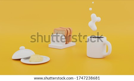 Yellow 3d cartoon quick breakfast, a hot coffee set, scrambled eggs, sausage and bacon, butter and bread, toast on the table and a napkin. Yellow or orange table and baby toys. 3d rendering