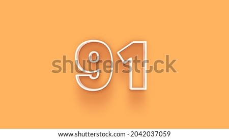 Yellow 3d number 91 isolated on yellow background coupon 91 3d numbers rendering discount collection for your unique selling poster, banner ads, Christmas, Xmas sale and more