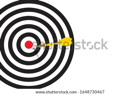 Yellow dart  almost hit the bulleye and missed the target and hit on the white space on the targer bacground,, Almost there Keep Going Idea and Missed Target Concept ストックフォト ©