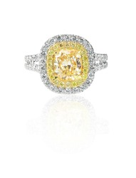Yellow Diamond Canary halo engagement wedding ring
