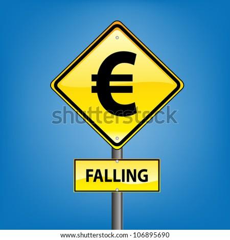 Yellow diamond hazard warning sign against blue sky - Danger Falling Currencies Euro indication