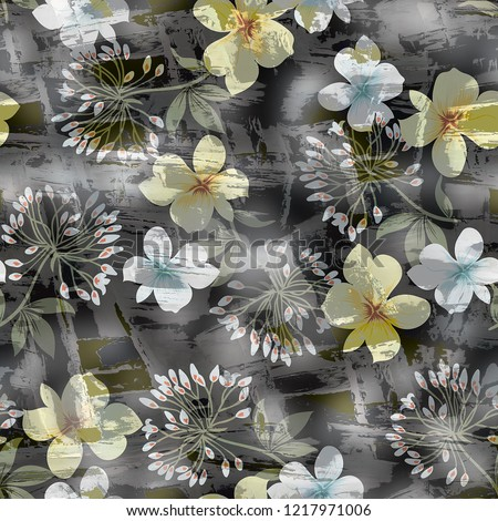 yellow digital all over flower pattern on background