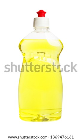 Yellow dishwashing liquid in a transparent plastic bottle isolated on a white background. Kitchen detergent. Household chemicals. Household chores. #1369476161