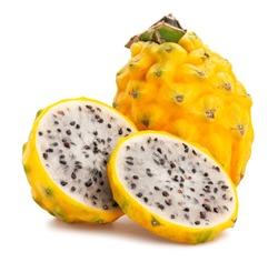 yellow dragonfruit pitahaya path isolated on white