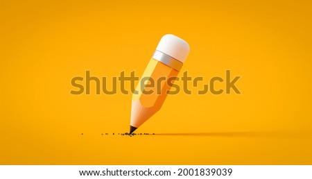 Yellow drawing pencil art design or education stationery equipment on creative color background with crayon paint writing object tool. 3D rendering.