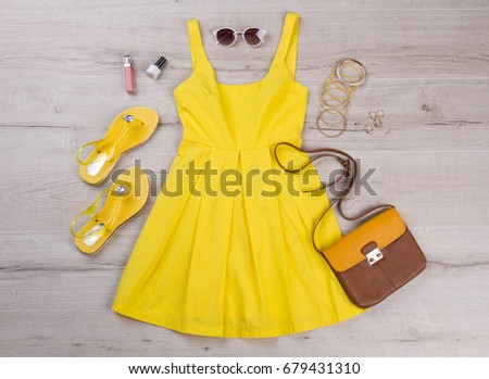 yellow dress with accessories...