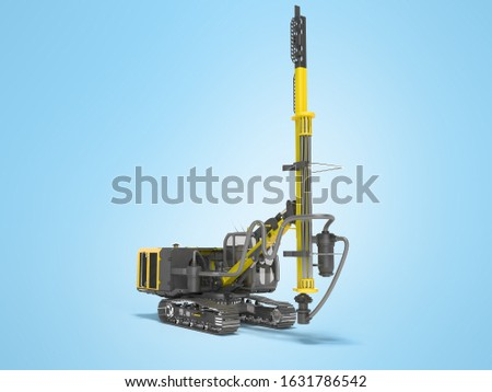 Yellow drill rig for drilling piles 3D rendering on blue background with shadow